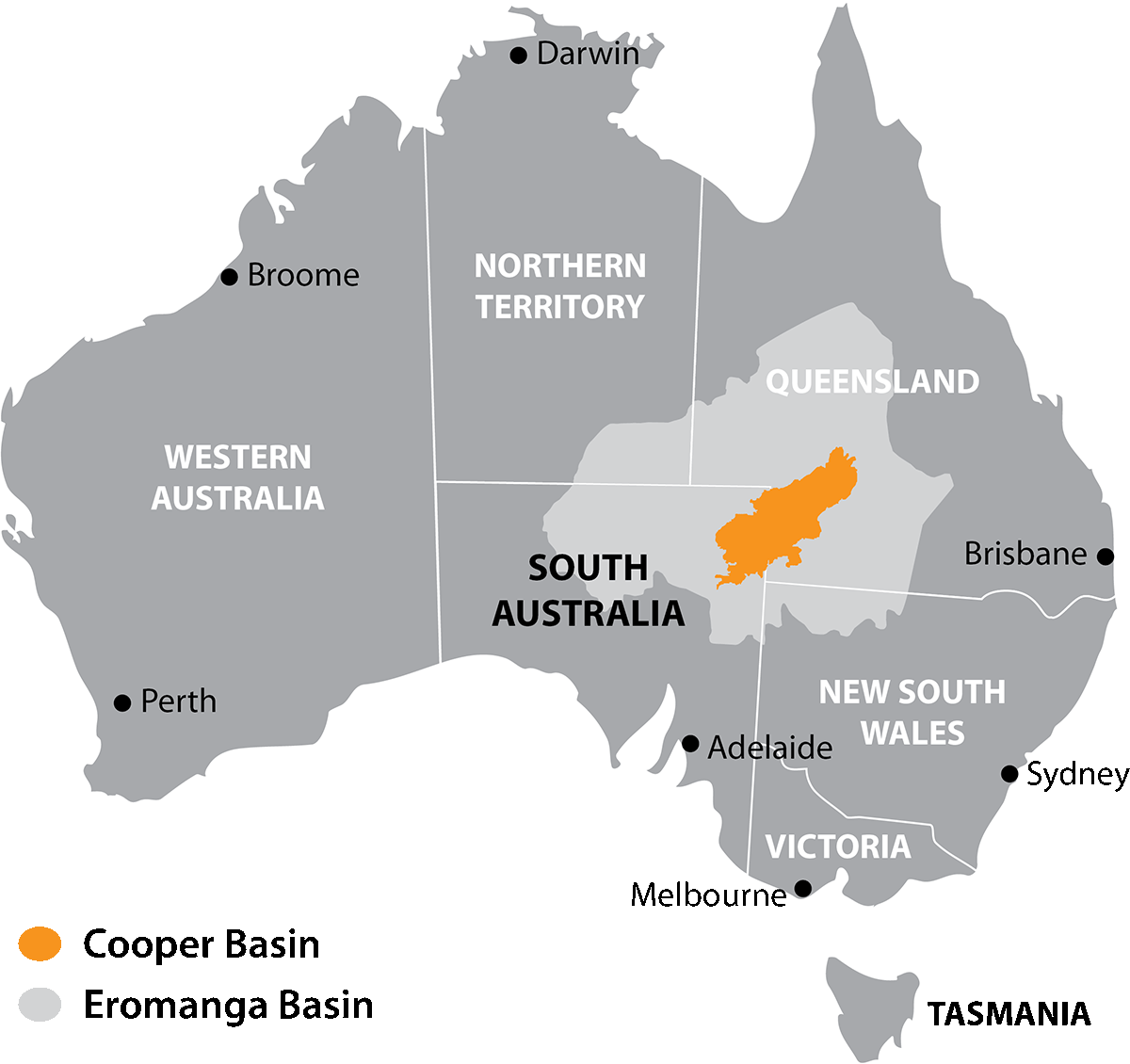Australia Map of Cooper & Eromanga Basins